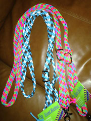 Hand-braided barrel racing reins
